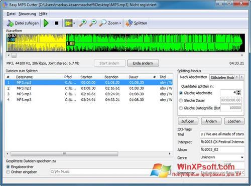 Скриншот программы MP3 Cutter для Windows XP