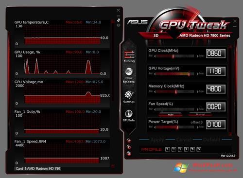 Скриншот программы ASUS GPU Tweak для Windows XP