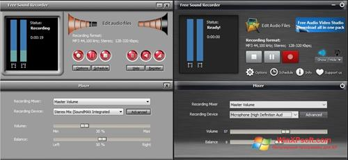 Скриншот программы Free Sound Recorder для Windows XP