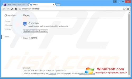 Скриншот программы Chromium для Windows XP