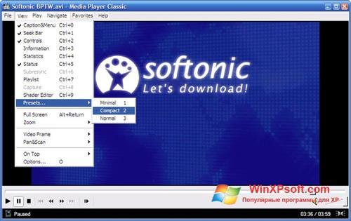 Скриншот программы Media Player Classic для Windows XP