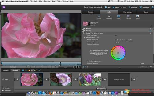 Скриншот программы Adobe Premiere Elements для Windows XP
