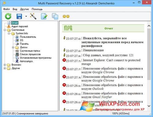 Скриншот программы Multi Password Recovery для Windows XP