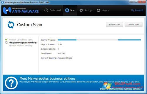 Скриншот программы Malwarebytes Anti-Malware для Windows XP