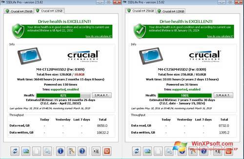 Скриншот программы SSDLife для Windows XP
