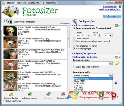 Скриншот программы Fotosizer для Windows XP