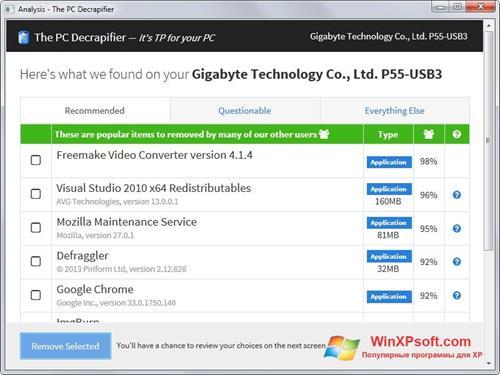 Скриншот программы PC Decrapifier для Windows XP