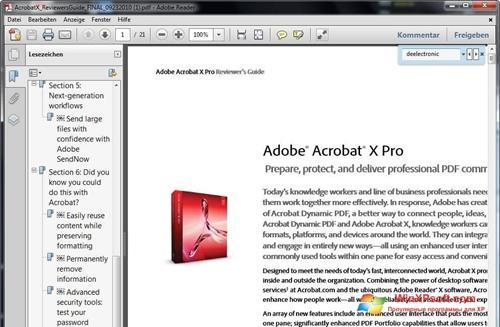 Скриншот программы Adobe Reader для Windows XP