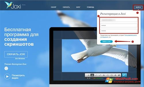 Скриншот программы Joxi для Windows XP