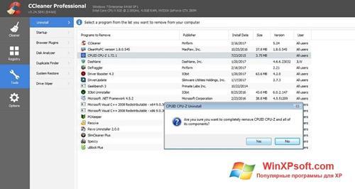Скриншот программы CCleaner Professional Plus для Windows XP