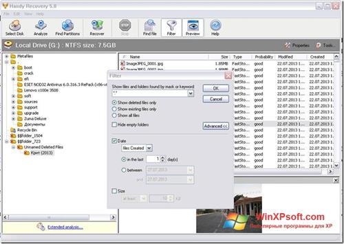 Скриншот программы Handy Recovery для Windows XP