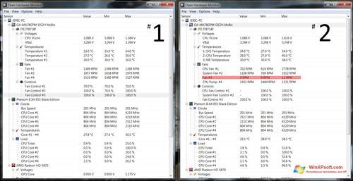 Скриншот программы Open Hardware Monitor для Windows XP