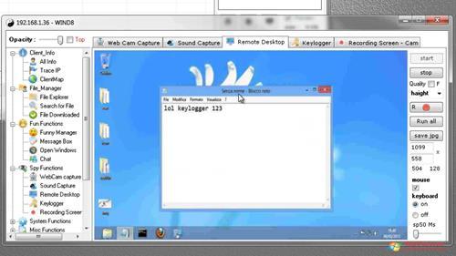 Скриншот программы Remote Administration Tool для Windows XP