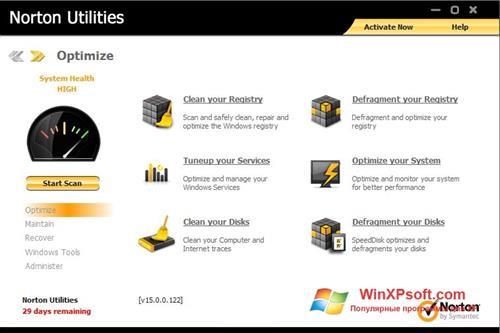Скриншот программы Norton Utilities для Windows XP