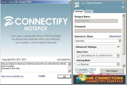 Скриншот программы Connectify Hotspot Pro для Windows XP