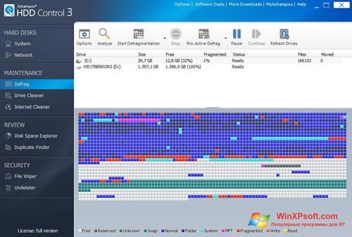 Скриншот программы Ashampoo HDD Control для Windows XP