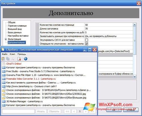 Скриншот программы Clipdiary для Windows XP