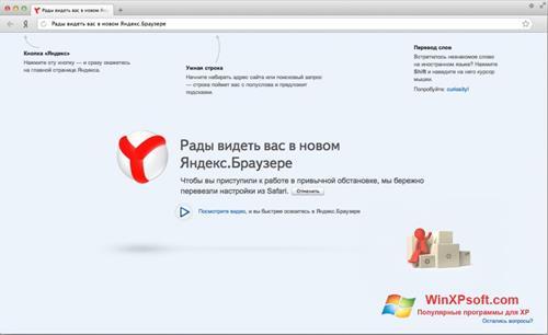Скриншот программы Яндекс Браузер для Windows XP