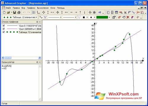 Скриншот программы Advanced Grapher для Windows XP