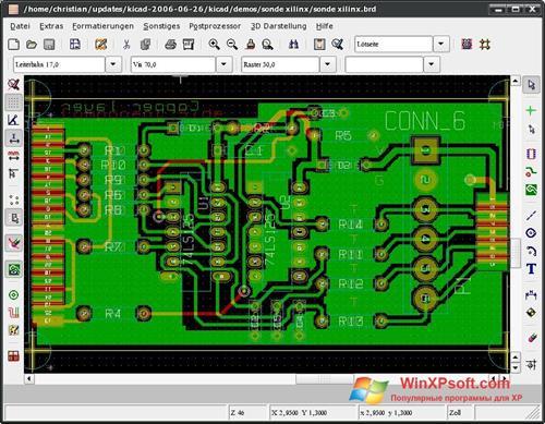 Скриншот программы KiCad для Windows XP