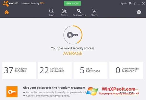 Скриншот программы Avast Internet Security для Windows XP