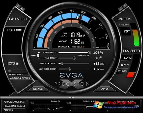 Скриншот программы EVGA Precision X для Windows XP
