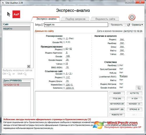Скриншот программы Site-Auditor для Windows XP