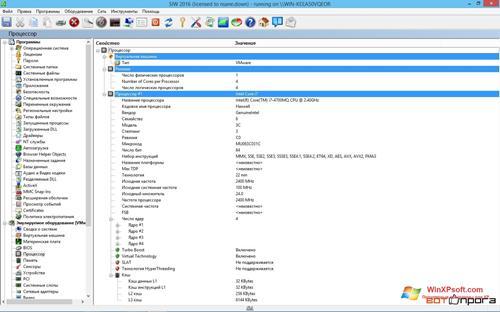 Скриншот программы SIW для Windows XP