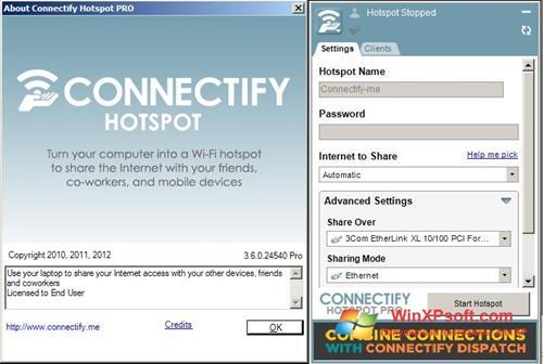 Скриншот программы Connectify Pro для Windows XP