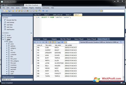 Скриншот программы MySQL Workbench для Windows XP