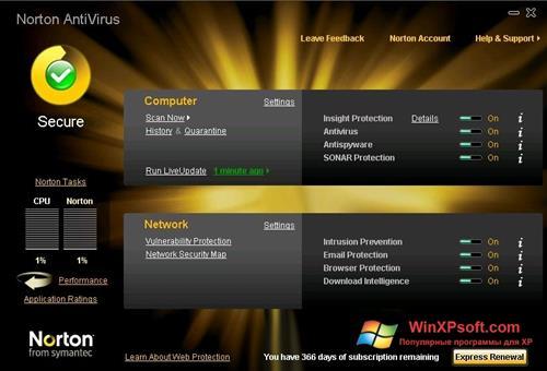 Скриншот программы Norton AntiVirus для Windows XP