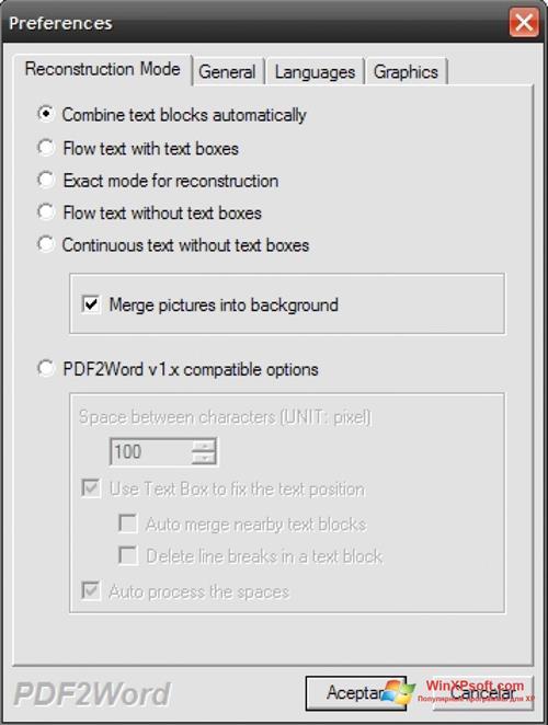 Скриншот программы PDF2Word для Windows XP