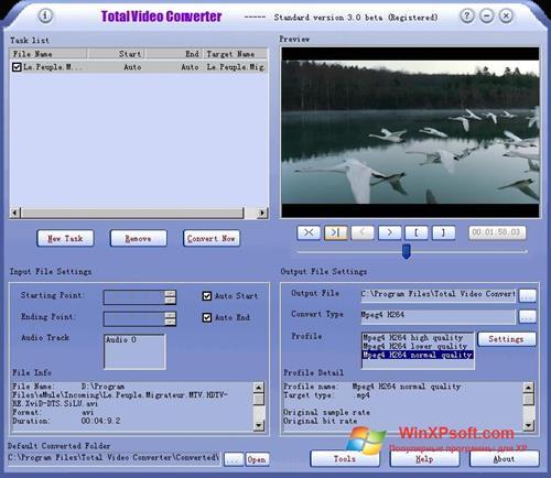 Скриншот программы Total Video Converter для Windows XP
