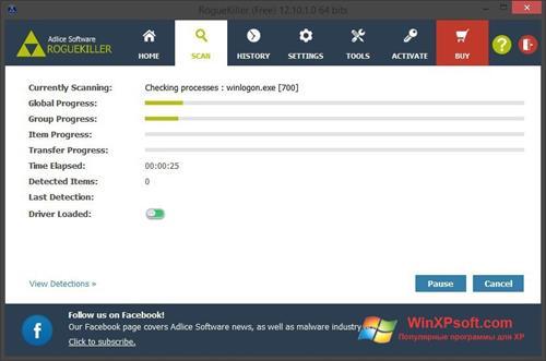 Скриншот программы RogueKiller для Windows XP