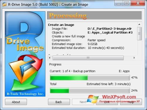 Скриншот программы R-Drive Image для Windows XP