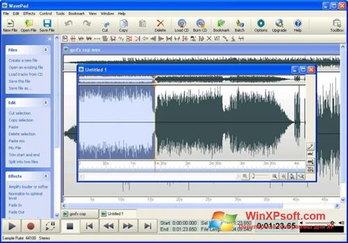 Скриншот программы WavePad Sound Editor для Windows XP