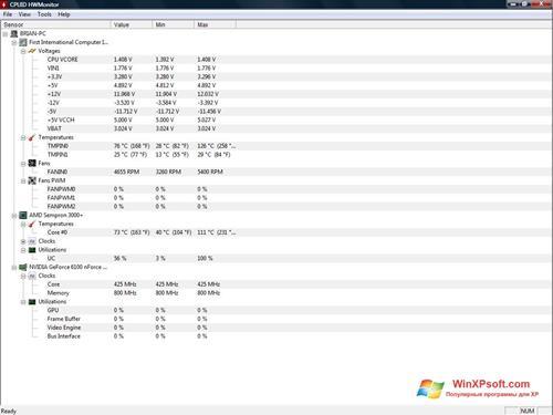Скриншот программы HWMonitor для Windows XP