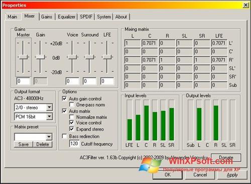 Скриншот программы AC3 Codec для Windows XP