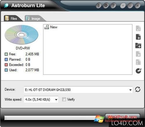 Скриншот программы Astroburn Lite для Windows XP