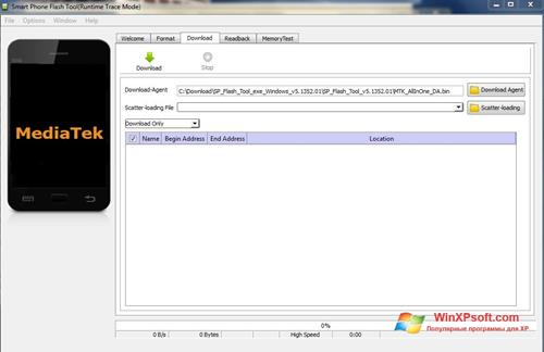 Скриншот программы FlashTool для Windows XP