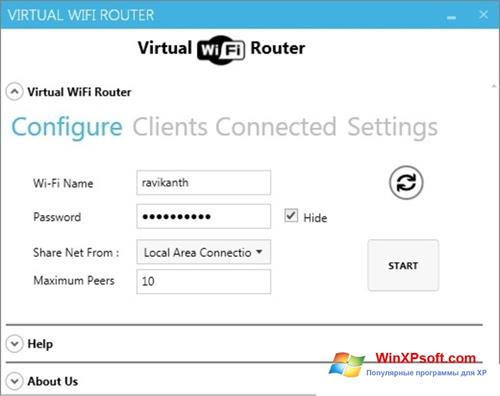 Скриншот программы Virtual WiFi Router для Windows XP