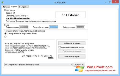 Скриншот программы HandyCache для Windows XP