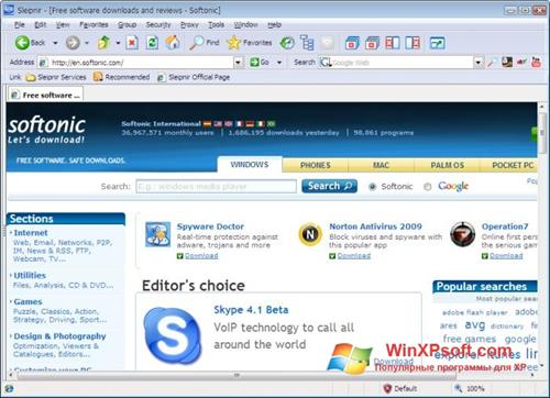 Скриншот программы Sleipnir для Windows XP