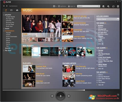 Скриншот программы Zune для Windows XP